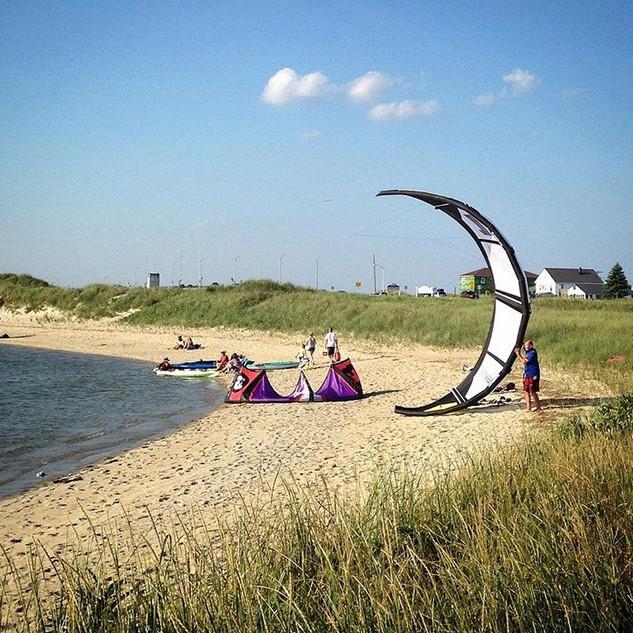 Kitesurfing, Seabrook Dunes, NH