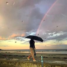 Rainbow Umbrella at Jenness Beach, Rye NH