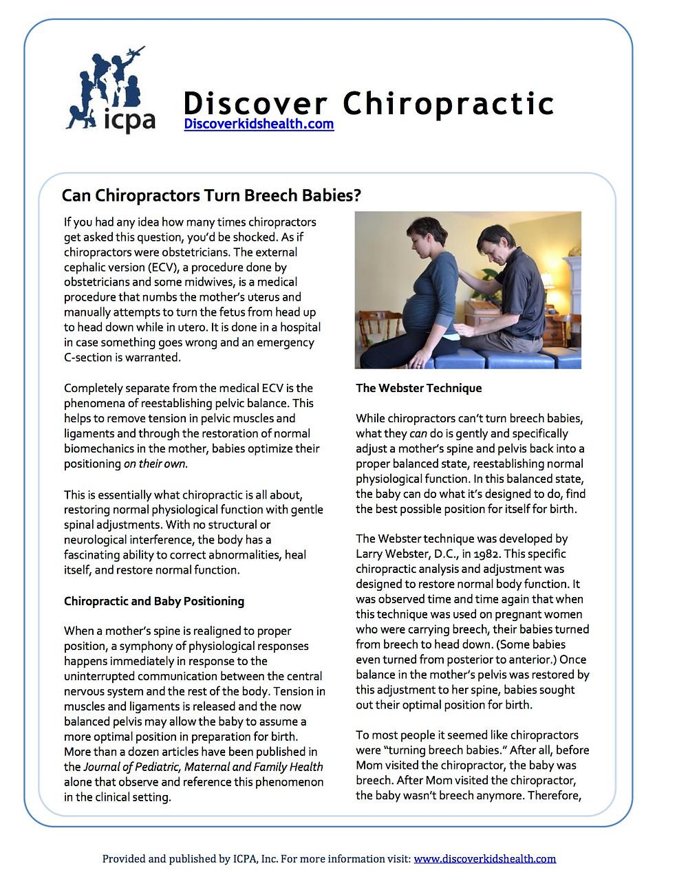 Chiropractic breech pregnancy