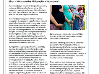 Birth – What are the Philosophical Questions?