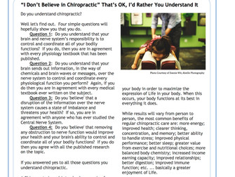 """I Don't Believe in Chiropractic"" That's OK, I'd Rather You Understand It"