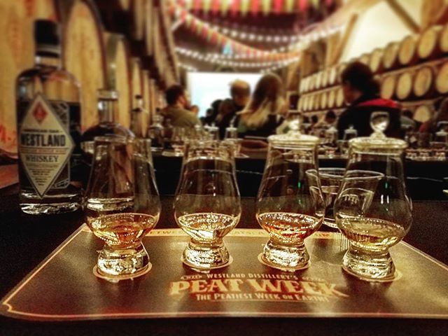 "Whiskey Tasting ""Between Two Peats Symposium"" at Westland Distillery during Peat Week 2017"