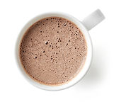 Cocoa drink in white mug isolated on whi