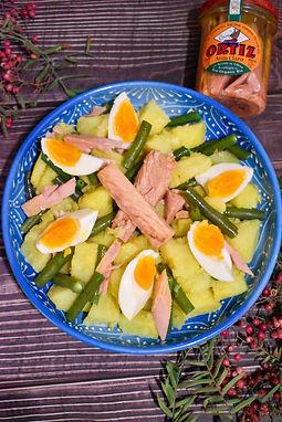 Ensalada de patata con atun y huevo
