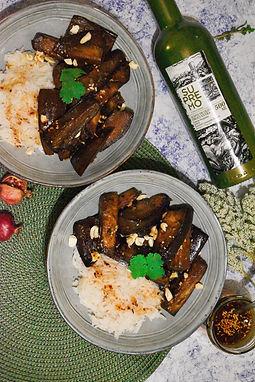 Berenjenas salteadas con chili oil