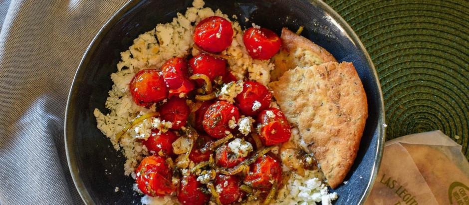 Tomates cherry confitados con queso feta