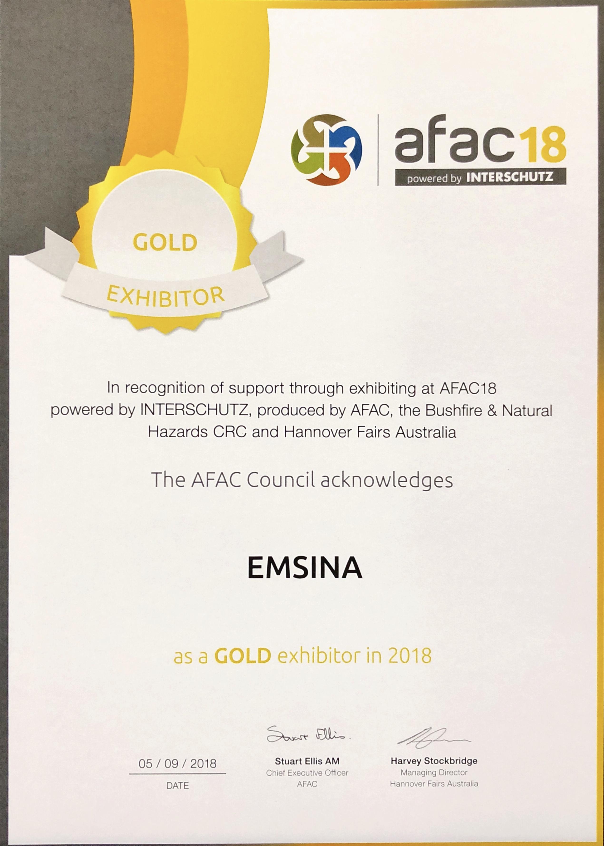 Gold Sponsor Certificate