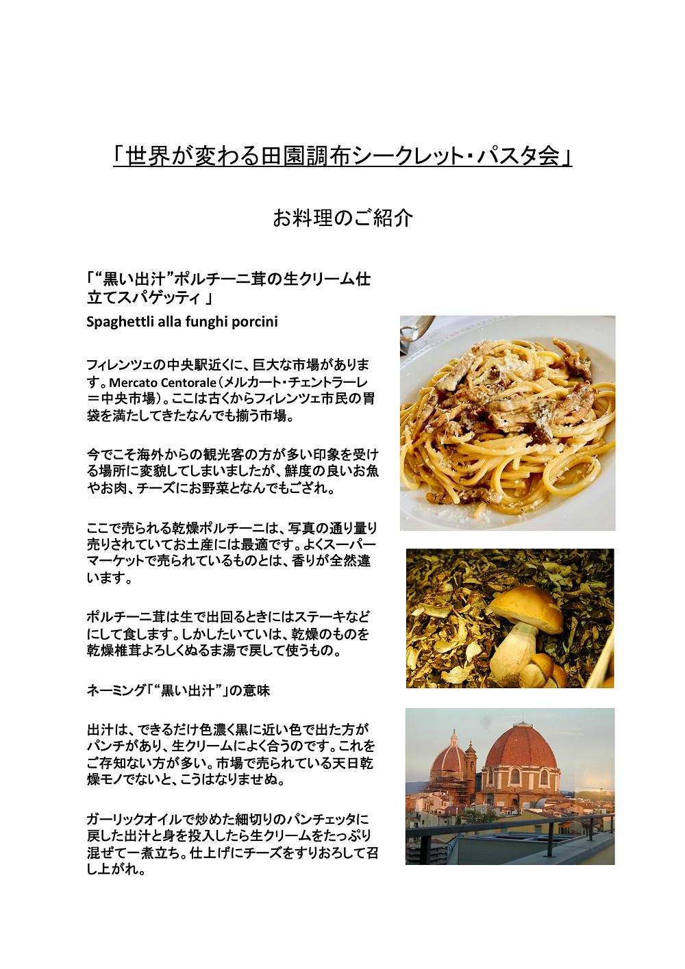 ポルチーニ茸の生クリーム仕立てスパゲッティ