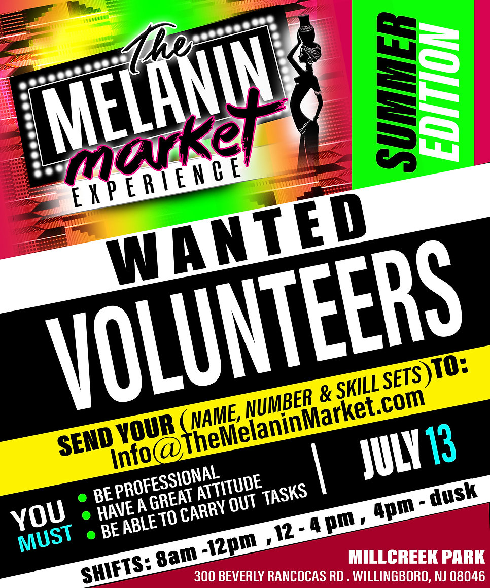 melanin market -  volunteer announcement