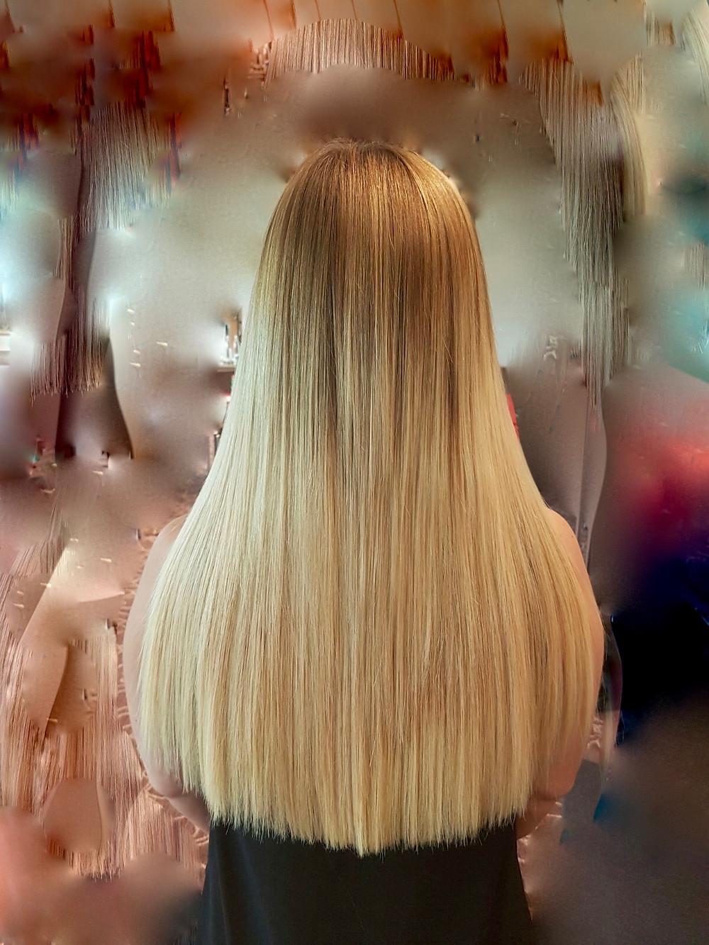 Haarverdichtung mit Ombresträhnen