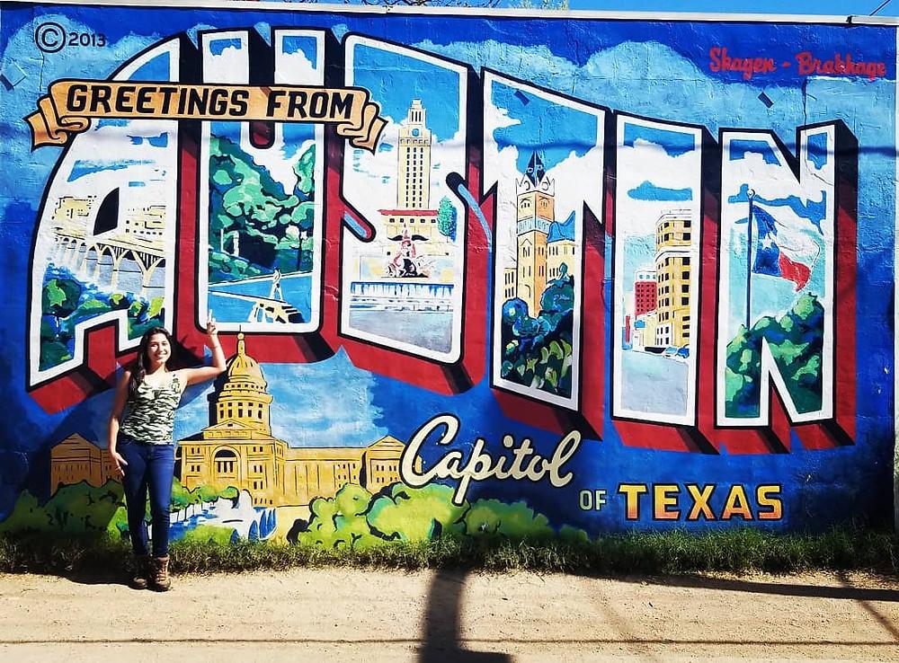 Austin famous mural, greetings from Austin mural, street art austin
