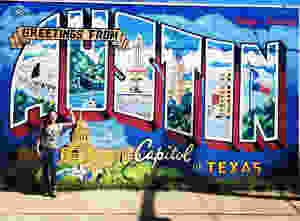 Austin famous mural, greetings from Austin mural, street art austin