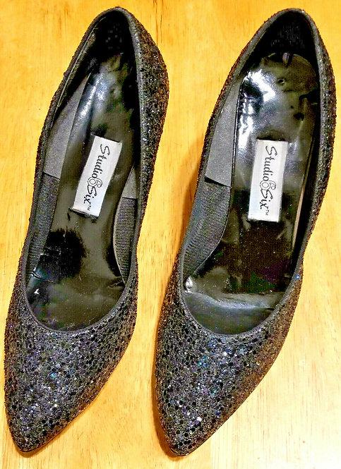 Vintage Black/Glittery Studio Six High Heels