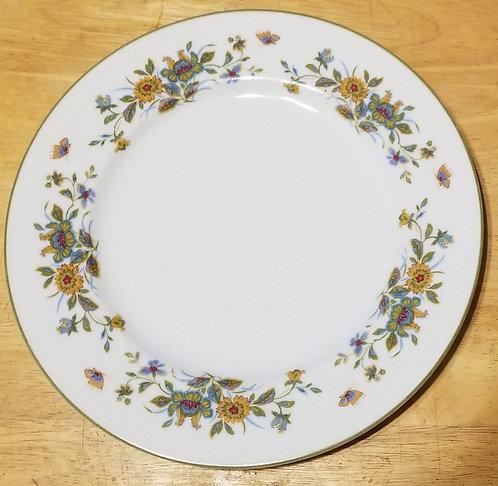 "10"" Dinner Plate Sango AGINCOURT Multicolored Flowers w/Green Trim"