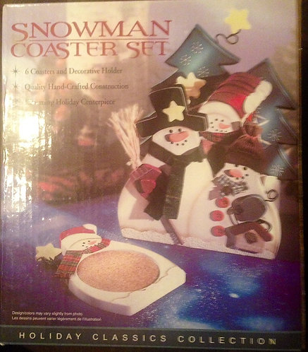 Vintage Holiday Classics Collection Snowman Coaster Set 6 Coasters & Holder