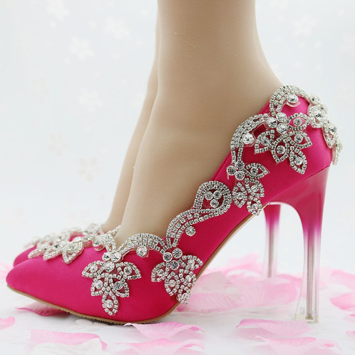 Womens Crystal Red Stiletto High Heels Handmade Thin Wedding Shoes