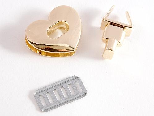 Heart-Shaped Metal Twist Lock Clasp - Gold