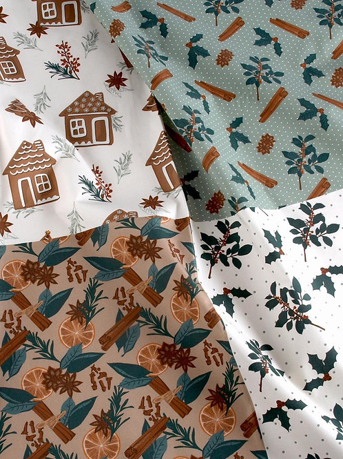 Winter Spices Christmas Fabric Panel 100% cotton