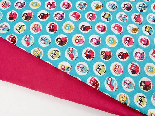 Perfect Pair - Owls + Pink Fabric Duo