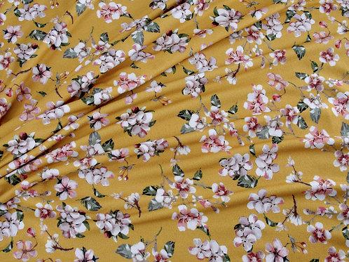 Flower Blossom Jersey - Mustard (price per half metre)