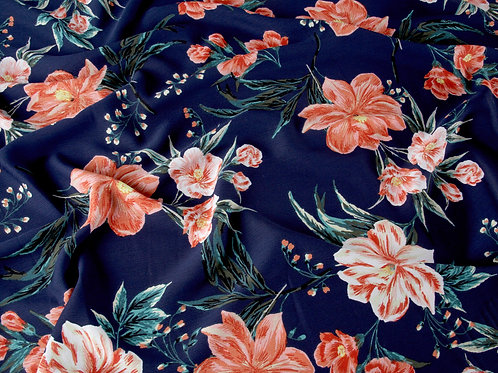 Navy Flowers Ripple Polyester Fabric