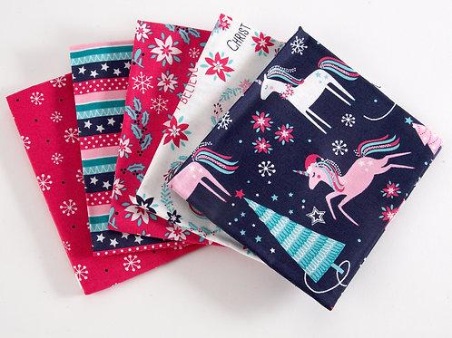 Magical Christmas Unicorns - 5 Fat Quarter Pack