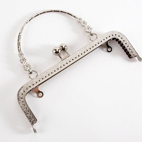 'Nancy' Kiss Clasp Bag Frame - Silver [Hana]