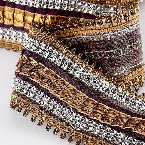 Pleated Ribbon Trim - Bronze (price per metre)