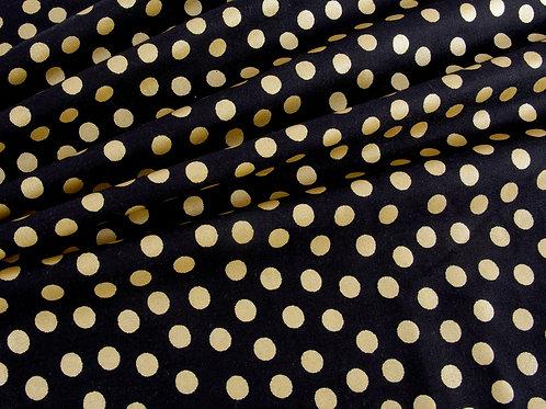 Black Metallic Gold Spot Cotton (price per half metre)