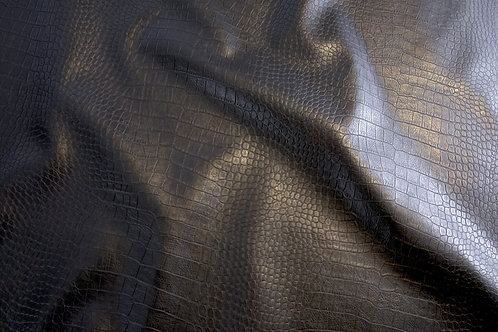 Faux Leather - Black Snake Skin (pre-cut half metre piece)