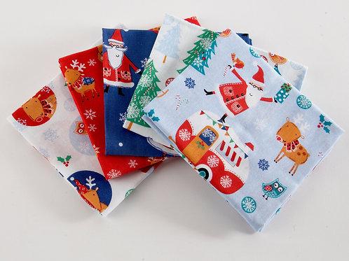 Santa and Reindeer Christmas 5 Fat Quarter Pack
