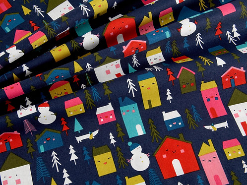 Merry and Bright Christmas - Houses (price per half metre)