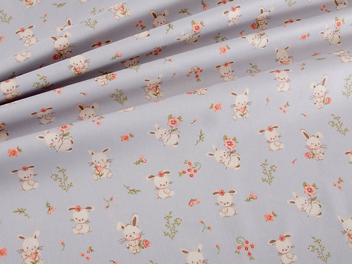 Organic Sweet Bunny Cotton Poplin - Grey (price per half metre)