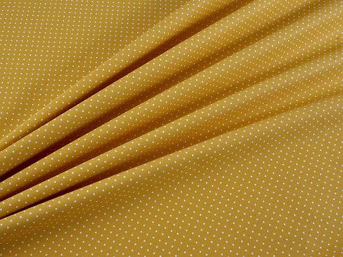 Yellow Pin Spot Cotton Poplin (price per half metre)