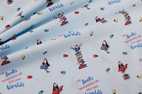 Roald Dahl's Matilda Books - Blue Fabric (price per half metre)