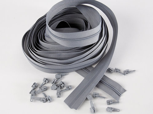 Continuous Zips 10m - Grey