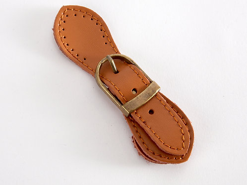 Leather Buckle Magnetic Snap - tan