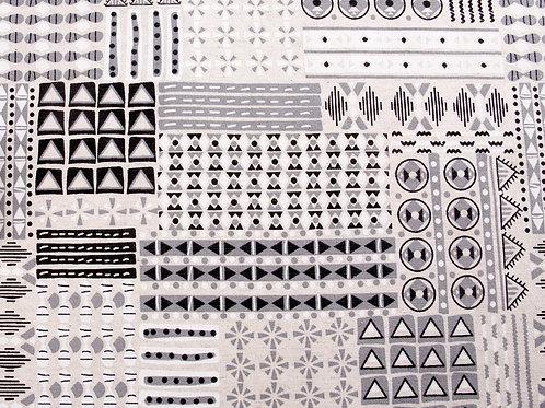 Black and Cream Geometric Canvas (price per half metre)