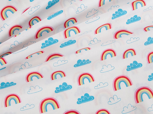 Rainbows and Clouds - White Cotton Fabric (price per half metre)