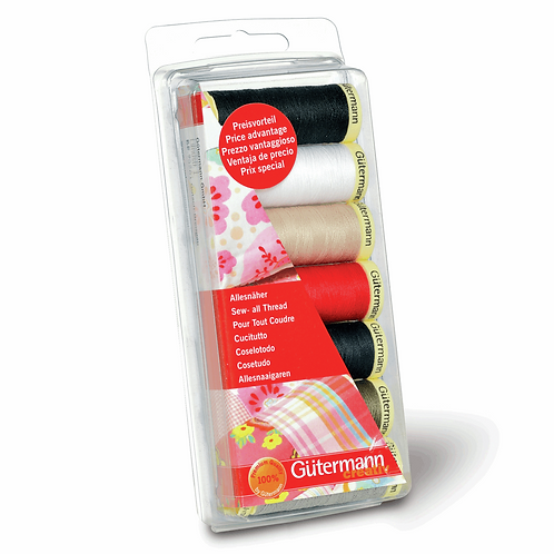 Gutermann Sew-all Thread 7 Pack - Assorted Navy/Red