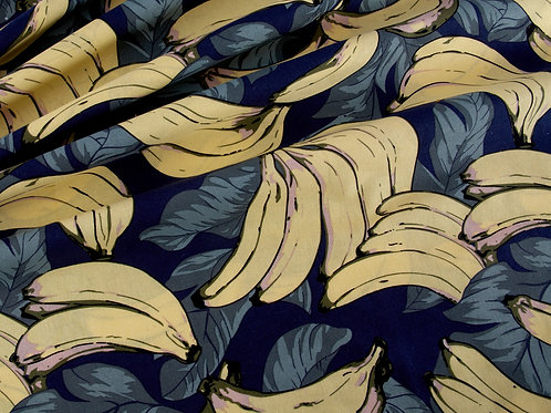 Banana on Navy Cotton (price per half metre)