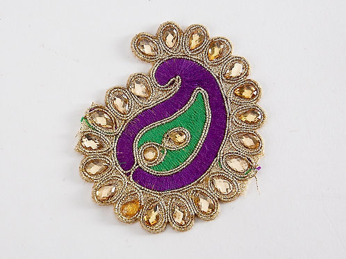 Purple and Green Paisley Applique Patch