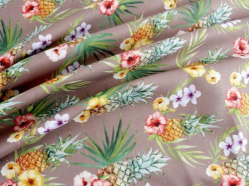 Deluxe Soft Pineapple and Hibiscus Canvas (price per half metre)