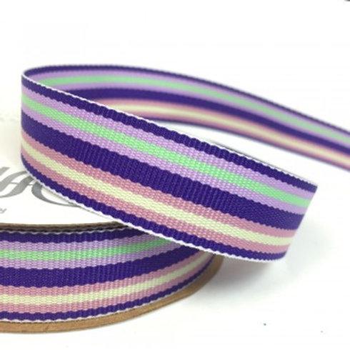 Purple Stripe Ribbon - 3m Roll