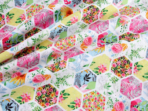 Boho Bouquet - Floral Hexagons (price per half metre)