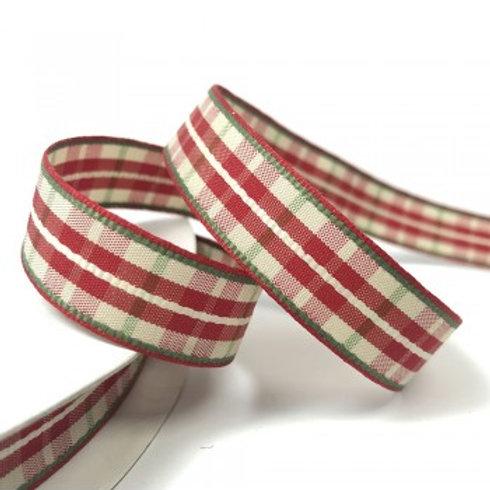Plaid Check Red Ribbon - 5m Roll