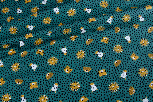 Animal Spots Cotton Jersey - Teal