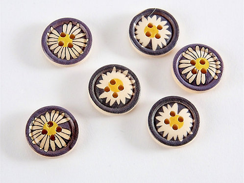 Rustic Navy Daisy Buttons - 6 Pack