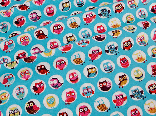 Happy Owls Cotton - Circles