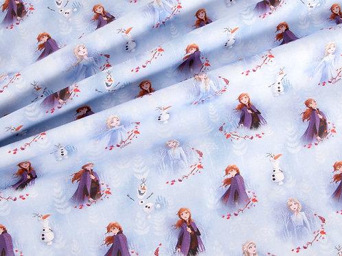 Disney Frozen Blue Anna, Elsa & Olaf Digital Cotton (price per half metre)